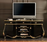 Buffet TV Frecnch finishing Warna Hitam Emas