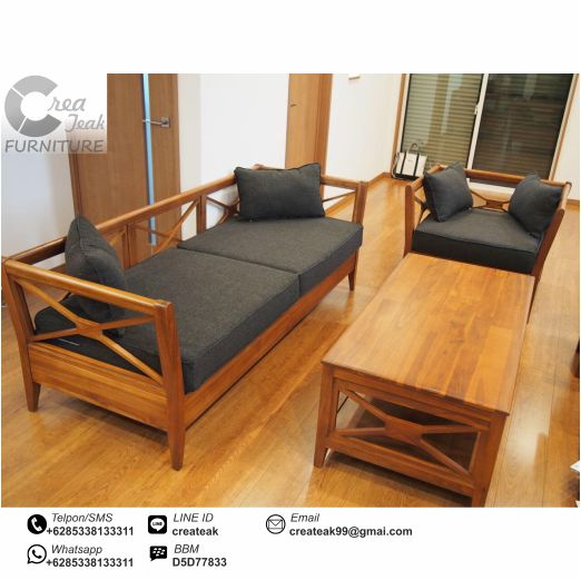 Set Kursi Tamu Minimalis Silang Jati Createak Furniture