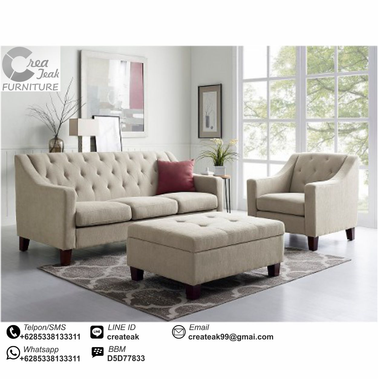 Set Sofa Tamu Minimalis Modern Girona Createak Furniture